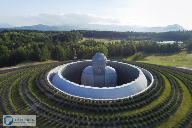 Khám phá tượng phật khổng lồ giữa đồi hoa oải hương ở Nhật Bản